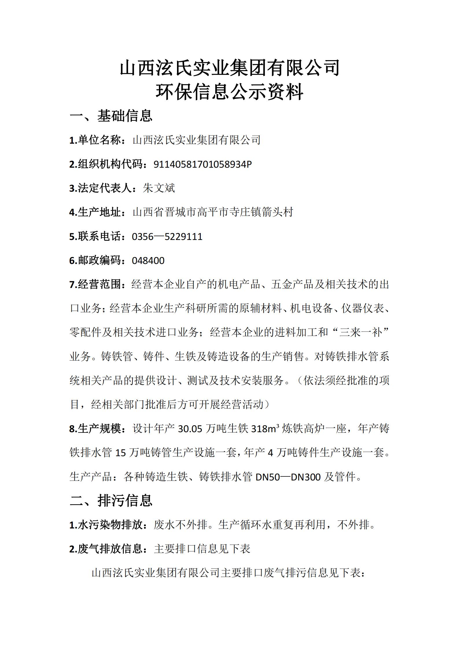 beplay2官网 环保信息公示资料